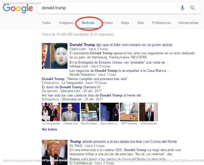 Pestaña Noticias google